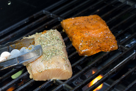 omega3: Grilling Omega3 rich salman and mahi on an outdoor gas grill for a healthy protien meal