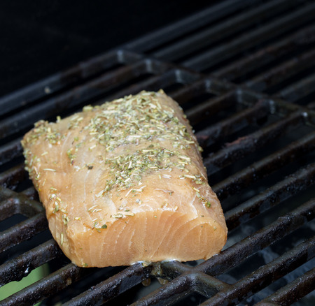 protien: Grilling Omega3 rich salman and mahi on an outdoor gas grill for a healthy protien meal