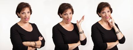 Middle age woman in black making three different expressions.