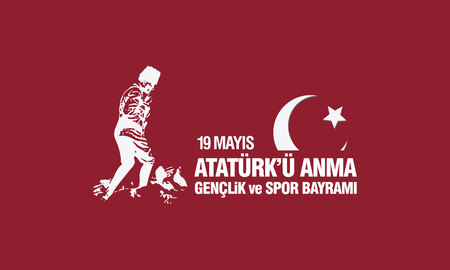 May 19th, Ataturk Memorial Youth and Sports Festival banner. Stock Vector - 99776418