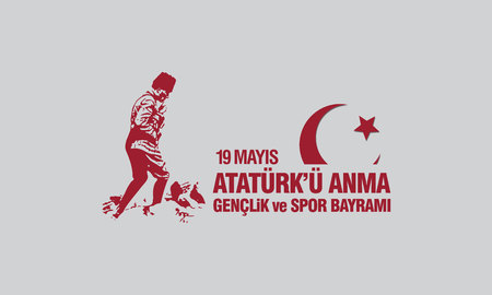 May 19th, Ataturk Memorial Youth and Sports Festival banner. Ilustração