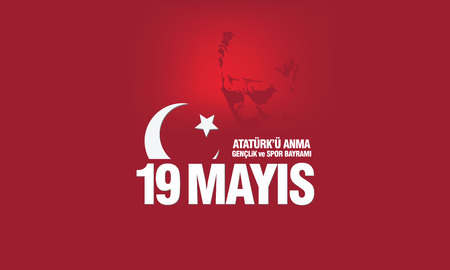 May 19th, Ataturk Memorial Youth and Sports Festival banner. Ilustracja