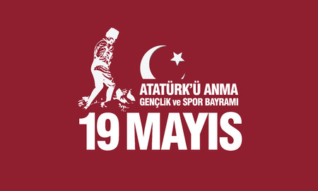 May 19th, Ataturk Memorial Youth and Sports Festival banner. Vectores