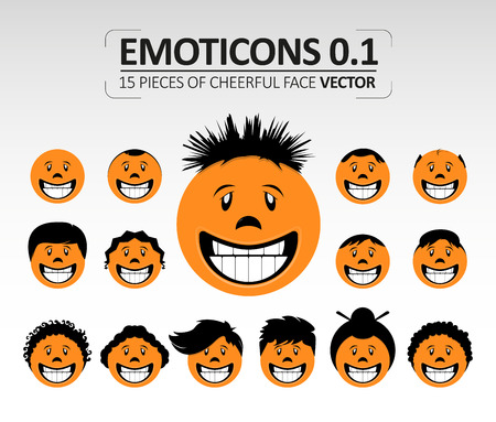 Emoticons cheerful face vector.