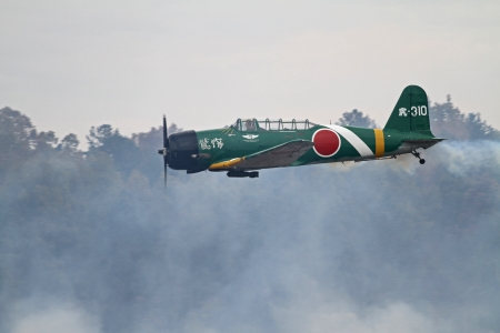 Monroe, North Carolina - November 4, 2012:  Reenactment of Japanese Attack on Pearl Harbor during Warbirds Over Monroe Air Show in Monroe, NC, on November 4, 2012.