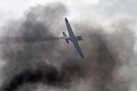 war bird: Monroe, North Carolina - November 4, 2012:  Reenactment of Japanese Attack on Pearl Harbor during Warbirds Over Monroe Air Show in Monroe, NC, on November 4, 2012. Editorial