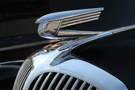 Concord, North Carolina - September 22, 2012: Closeup of hood ornament on a 1936 Buick on display at the Charlotte AutoFair classic car show at Charlotte Motor Speedway, September 22, 2012.