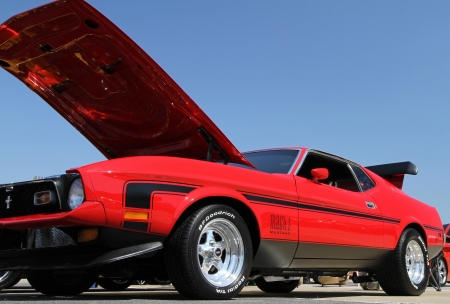 mach 1: Concord, North Carolina - September 22, 2012:  A 1971 Ford Mustang Mach 1 on display at the Charlotte AutoFair classic car show at Charlotte Motor Speedway, September 22, 2012. Editorial