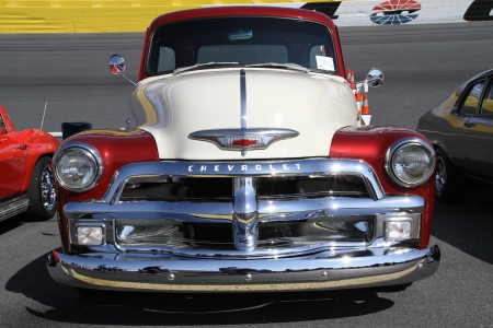 Concord, North Carolina - April 6, 2013:  A vintage Chevrolet pickup truck on display at the Food Lion Auto Fair classic car show at Charlotte Motor Speedway in Concord, North Carolina. Editorial
