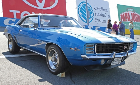 Concord, North Carolina - April 6, 2013:  A 1969 Chevrolet Camaro Z/28 on display at the Food Lion Auto Fair classic car show at Charlotte Motor Speedway in Concord, North Carolina.