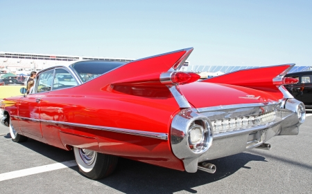 Concord, North Carolina - April 6, 2013:  A 1959 Cadillac automobile on display at the Food Lion Auto Fair classic car show at Charlotte Motor Speedway in Concord, North Carolina.