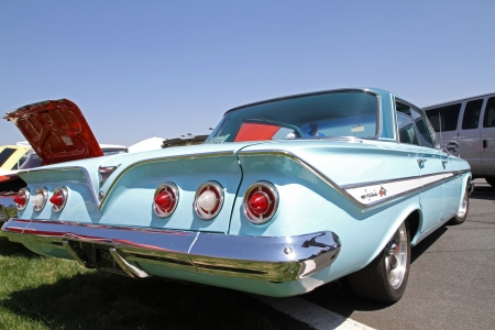 Concord, North Carolina - April 6, 2013:  A 1961 Chevrolet Impala SS automobile on display at the Food Lion Auto Fair classic car show at Charlotte Motor Speedway in Concord, North Carolina.