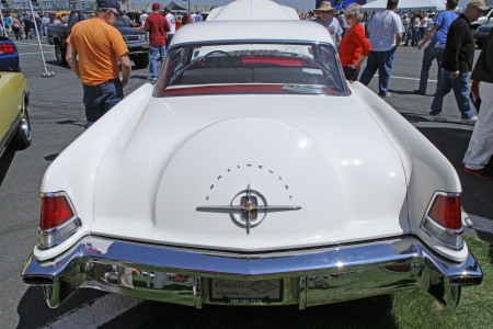 car show: Concord, North Carolina - April 6, 2013:  A 1956 Lincoln Continental automobile on display at the Food Lion Auto Fair classic car show at Charlotte Motor Speedway in Concord, North Carolina. Editorial
