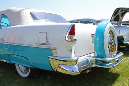 Concord, North Carolina - April 6, 2013:  A 1955 Chevrolet Bel Air automobile on display at the Food Lion Auto Fair classic car show at Charlotte Motor Speedway in Concord, North Carolina.