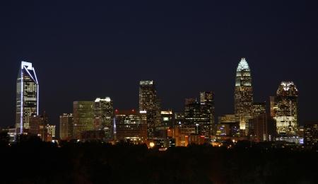 The skyline of Charlotte, North Carolina, at night