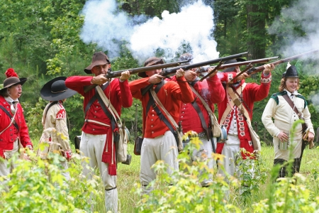 Rock Hill, South Carolina -  July 11, 2006:  Revolutionary War reenactors recreate the Battle of Huck's Defeat, fought on July 12, 1780, on the grounds of Historic Brattonsville in South Carolina.