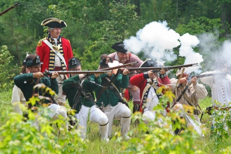armaments: Rock Hill, South Carolina -  July 11, 2006:  Revolutionary War reenactors recreate the Battle of Hucks Defeat, fought on July 12, 1780, on the grounds of Historic Brattonsville in South Carolina.