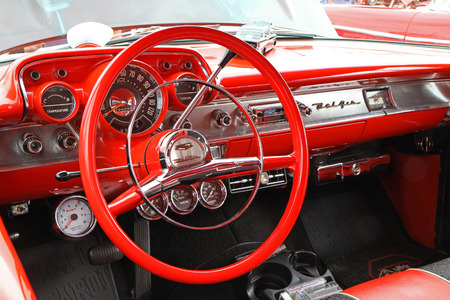 bel air: CONCORD, NC - SEPTEMBER 21   Interior of a 1957 Chevy Bel Air on display at the Charlotte AutoFair classic car show at Charlotte Motor Speedway in Concord, North Carolina, September 21, 2013  Editorial