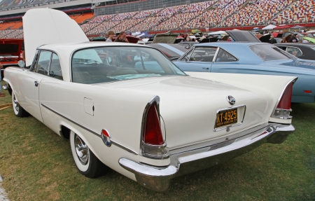 Concord, North Carolina - September 21, 2013   A 1957 Chrysler 300 on display at the Charlotte Auto Fair classic car show at Charlotte Motor Speedway in Concord, North Carolina