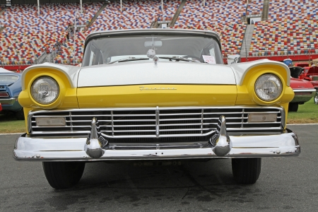 Concord, North Carolina - September 21, 2013 : A 1957 Ford Fairlane on display at the Charlotte Auto Fair classic car show at Charlotte Motor Speedway in Concord, North Carolina