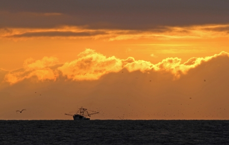 shrimp boat: A shrimp boat at sunrise Stock Photo