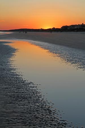Ocean tidal pool at sunset