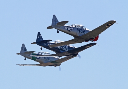allies: Monroe, North Carolina - November 10, 2013 - Three World War II T-6 Texan Aircraft  Performing during Warbirds Over Monroe Air Show in Monroe, NC