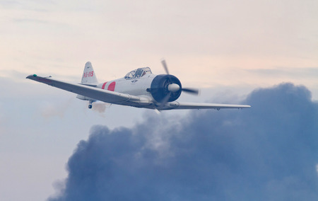MONROE, NC -- NOVEMBER 8, 2014:  Reenactment of the Japanese Attack on Pearl Harbor during Warbirds Over Monroe Air Show in Monroe, NC.