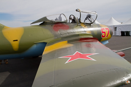 warbirds: MONROE, NC -- NOVEMBER 8, 2014:  A MIG-15 Jet Fighter on Display at the Warbirds Over Monroe Air Show in Monroe, NC.