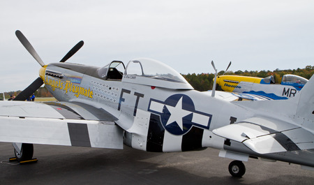warbirds: MONROE, NC -- NOVEMBER 8, 2014:  Two P-51 Mustang Fighters on Display at the Warbirds Over Monroe Air Show in Monroe, NC.