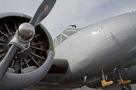 warbirds: MONROE, NC -- NOVEMBER 8, 2014:  A C-45 Expeditor Aircraft on Display at the Warbirds Over Monroe Air Show in Monroe, NC.