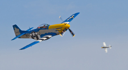 warbirds: MONROE, NC -- NOVEMBER 8, 2014:  Two P-51 Mustang Fighters Performing at the Warbirds Over Monroe Air Show in Monroe, NC.