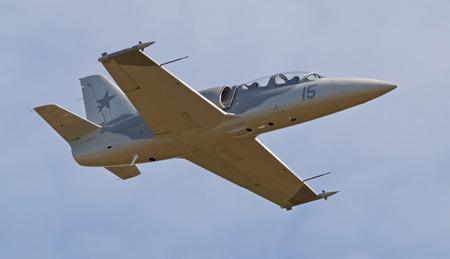 warbirds: MONROE, NC -- NOVEMBER 8, 2014:  An L-39 Albatros Jet Fighter Performing at the Warbirds Over Monroe Air Show in Monroe, NC.