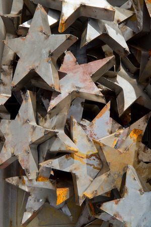 mishmash: A jumble of decorative metal stars aged with rust.