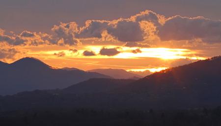 blue ridge: A setting sun illuminates the Blue Ridge Mountains Stock Photo