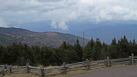 blue ridge: Low clouds conceal the Blue Ridge Mountains in North Carolina Stock Photo