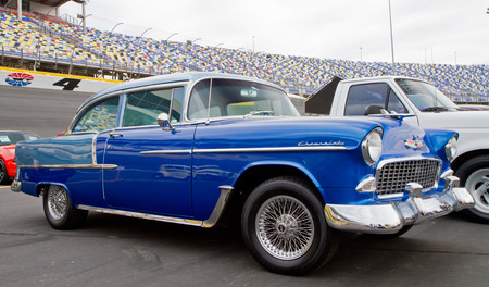 CONCORD, NC -- APRIL 11, 2015:  A 1955 Chevy Bel Air automobile on display at the Charlotte AutoFair classic car show held at Charlotte Motor Speedway.