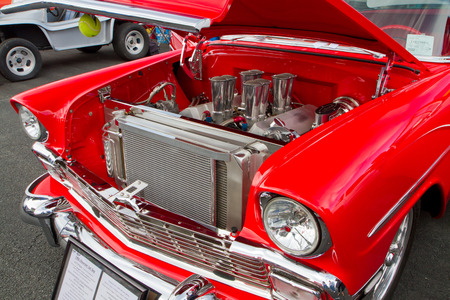 CONCORD NC - APRIL 11 2015:  A 1956 Chevy hot rod automobile on display at the Charlotte AutoFair classic car show held at Charlotte Motor Speedway.