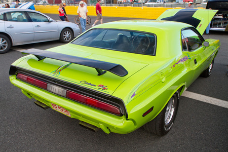 challenger: CONCORD NC - APRIL 11 2015:  A 1970 Dodge Challenger automobile on display at the Charlotte AutoFair classic car show held at Charlotte Motor Speedway.
