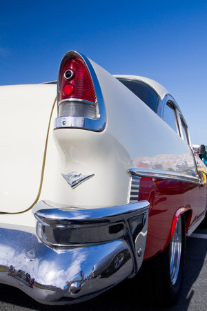CONCORD NC - APRIL 11 2015:  A 1955 Chevy Bel Air automobile on display at the Charlotte AutoFair classic car show held at Charlotte Motor Speedway.