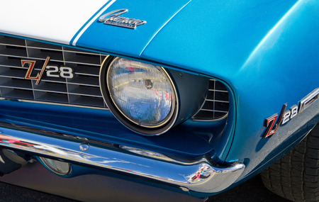 CONCORD NC - APRIL 11 2015:  A 1969 Chevy Z28 Camaro automobile on display at the Charlotte AutoFair classic car show held at Charlotte Motor Speedway. Editorial