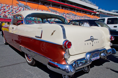 chieftain: CONCORD NC - APRIL 11 2015:  A 1955 Pontiac Chieftain automobile on display at the Charlotte AutoFair classic car show held at Charlotte Motor Speedway. Editorial