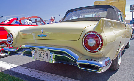 thunderbird: CONCORD NC - APRIL 11 2015:  A 1957 Ford Thunderbird automobile on display at the Charlotte AutoFair classic car show held at Charlotte Motor Speedway.