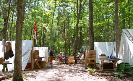 yankees: HUNTERSVILLE NC  JUNE 6 2015:  Example of a Civil Warera military camp on display during an American Civil War battle reenactment at Historic Latta Plantation.