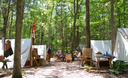 HUNTERSVILLE NC  JUNE 6 2015:  Example of a Civil Warera military camp on display during an American Civil War battle reenactment at Historic Latta Plantation.