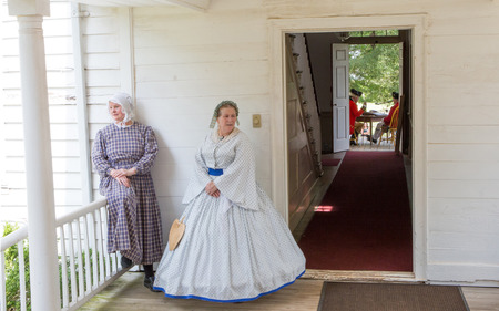 revolutionary war: MCCONNELLS, SC - July 11, 2015:  American Revolutionary War reenactors recreate the Battle of Hucks Defeat at Historic Brattonsville.  The Patriot victory was originally fought nearby on July 12, 1780.
