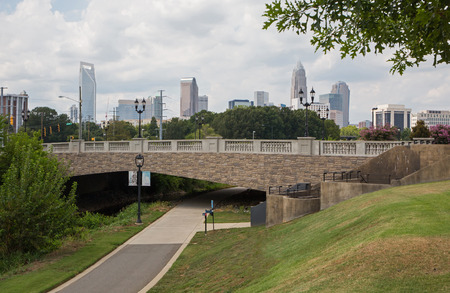 overpass: Urban greenway near downtown Charlotte, North Carolina.