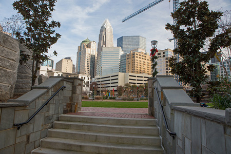 CHARLOTTE, NC - December 12, 2015: A stairway in Romare Bearden Park, an urban oasis in downtown Charlotte, North Carolina.