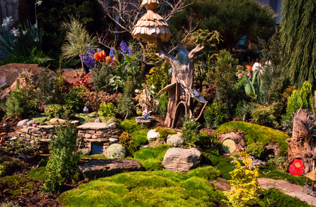 show garden: CHARLOTTE, NC - February 28, 2016:  A display of landscape architecture with dramatic night lighting at the Southern Spring Home  Garden Show.