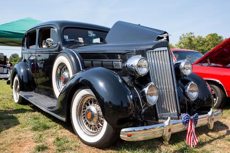 MATTHEWS, NC - September 4, 2017:  A 1936 Packard on display at the Matthews Auto Reunion & Motorcycle Show. Editorial